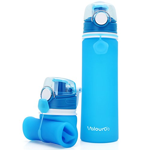 - Valourgo ll121 Collapsible Water Bottle - Silicone Foldable with Leak Proof Valve BPA Free, 21 Ounce (Blue)