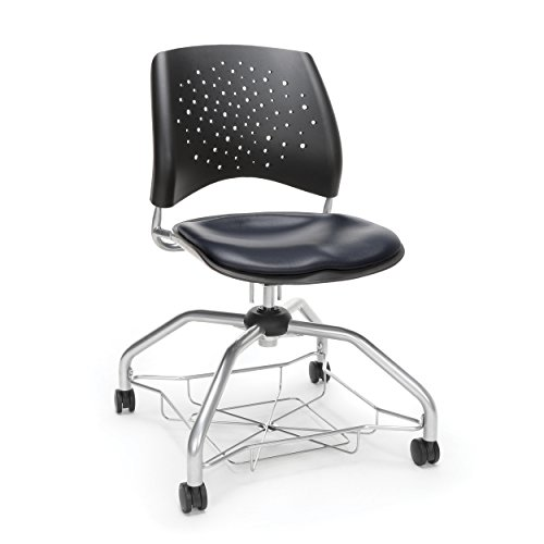 OFM Stars Foresee Series Chair with Removable Vinyl Seat Cushion - Student Chair, Navy (329-VAM) (Vinyl Ofm Stars)