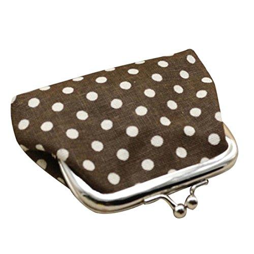 Hot Sale Women Coin Purse,Polka Dot Small Linen Wallet Card Holder Kisslock Change Clutch Handbag (9cmX7cm, Coffee)
