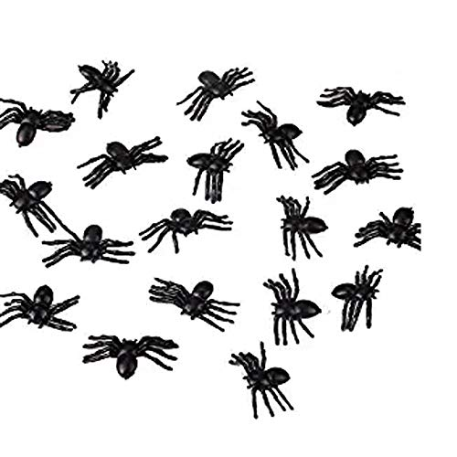 Megrocle Halloween Plastic Spiders Scary Black Spiders Mini Fake Spider Party Favor for Halloween Prank,20pcs -