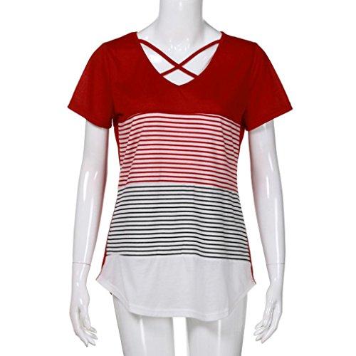 ... MCYs Damen Streifen Splice Kreuz Bandage T-Shirt Kurzarm Casual Tops Bluse  Oberteil Loose T 583a0b8e83