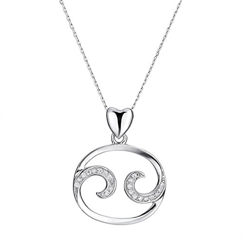 ace 925 Sterling Silver Zodiac Sign Constellation Horoscope Necklace with Cubic Zirconia (Cancer Scorpio Zodiac)