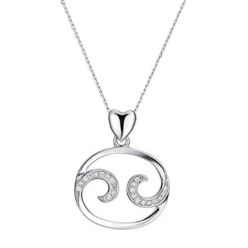 Zodiac Necklace Zirconia Sterling Birthday