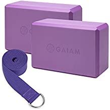 Gaiam Essentials Yoga Block 2 Pack & Yoga Strap Set