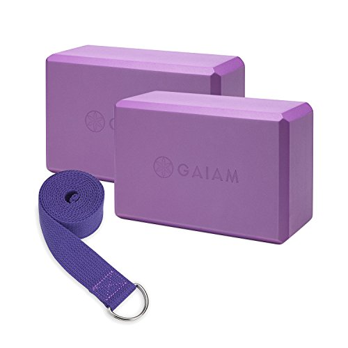 Gaiam 05-62961  Yoga Block 2 Pack & Strap Set, Deep Purple