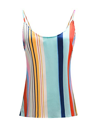 TOTOFITS Women's V Neck Lace Trim Satin Cami Striped Basic Adjustable Spaghetti Strap Camisole Tank Top (Striped, ()