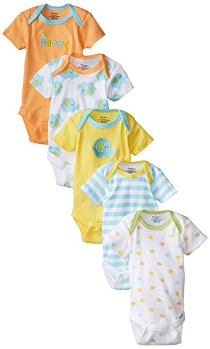 Gerber Unisex-Baby Variety Onesies Brand Bodysuits, Elephant, 6-9 Months (Pack of 5)