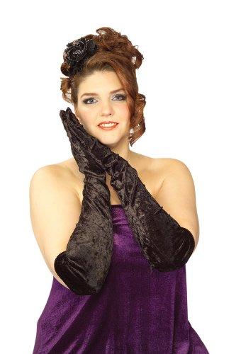 [Secret Wishes Long Velvet Costume Gloves, Black, Plus] (Larger Ladies Halloween Costumes)