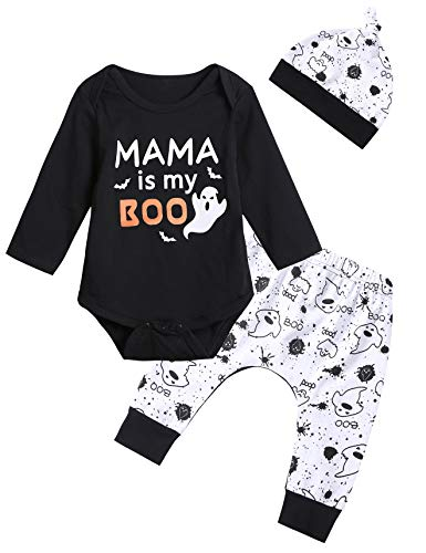 Baby Boo Costume (3PCS Baby Boys' Mama is My Boo Clothes Set Halloween Ghost Costume Pants with Hat (3-6 Months))