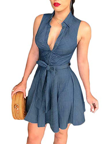 - Hujukuludusu Women's Sexy Dress V-Neck Long Sleeve Denim Party A-line Skirt Dress (S, Blue 2)