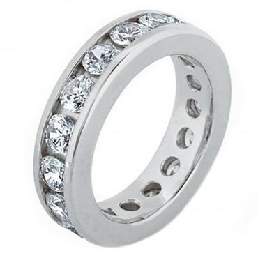 2.50 Ct Round Cut Diamond Eternity Wedding Band. Comfort Fit Ring in 14 kt White Gold in Size 7.5