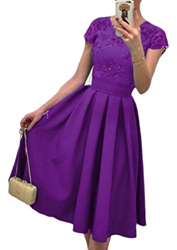 Dress Line A Party Midi Round Solid Women's Jaycargogo Cocktail Summer Purple Neck q6YUvw