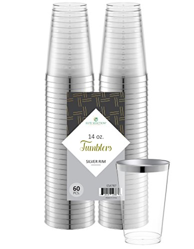 Elite Selection 60 Count 14 Oz. Disposable Hard Party Plastic Cups / Tumblers With Silver Rim