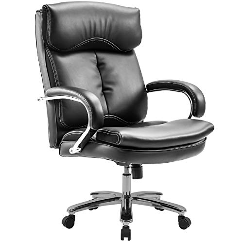 Executive Office Desk Chair, Heavy Duty Rocker Swivel Chair and Seat Cushion Ergonomic Design PU Leather Upholstery 400 Pound Black