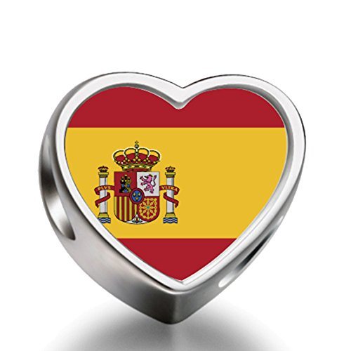 Spain flag Heart Silver Plated Charms Bracelet Necklace Beads Waist Beads 6mm Hole Craft Metal Beads floating Charms for Women