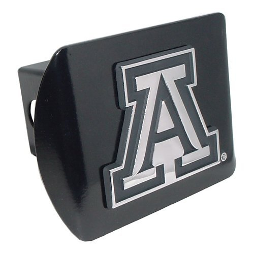 University of Arizona Wildcats Black with Chrome A Emblem NCAA College Sports Metal Trailer Hitch Cover Fits 2 Inch Auto Car Truck Receiver