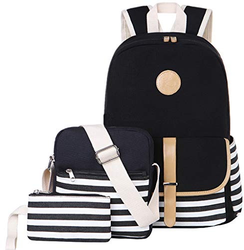 BLUBOON Canvas Bookbags School Backpack Laptop Schoolbag for Teens Girls High School (Stripe Black-8893) ()