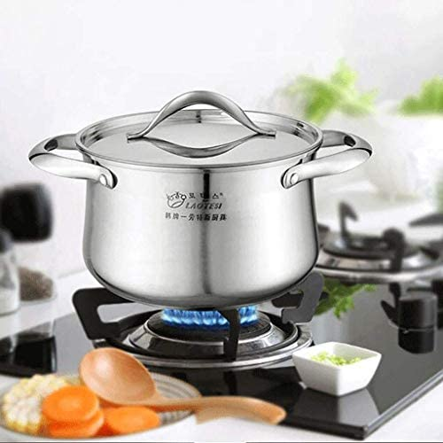 WEIFAN CAI- Pot À Soupe 304 en Acier Inoxydable Ménage Pot Binaural Épaississement Fond Cuisinière Cuisinière Universelle (Taille: 24CM)