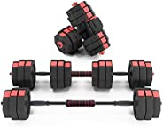 DlandHome Adjustable Dumbbells Set 33lbs for Each Dumbbells Multi-Purpose Weights Set with Connecting Rod Used