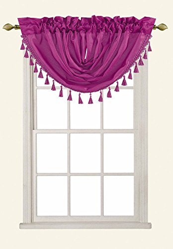 Sabah Faux Silk Rod Pocket Waterfall Valance With Beaded Tassels, Radiant Orchid - Radiant Rod Pocket