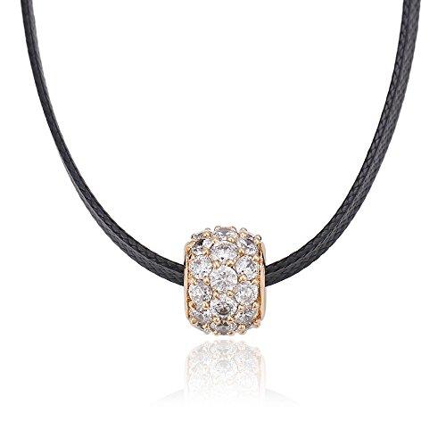 XUPING Noir Corde ras du cou Colliers ras du cou Pendentif Perle Colliers pour femmes filles (18K Gold Color)