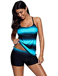 e481df11f39f6 Women's Bikini and Boardshort │Strappy Hollow-Out Back Tankini Swimsuits  for Women │Two