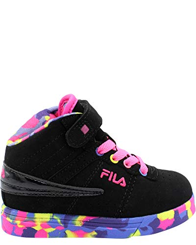 (Fila Kid's Vulc 13 Mashup Athletic Sneakers, Black Filabuck, Synthetic, 8 M)
