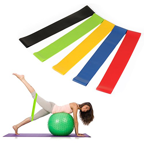 Cheap Resistance Loop Exercise Bands by Benewell, 12 inch Workout Bands Stretch Bands for Home Workout, Stretching, Pilates, Yoga, Rehab, Physical Therapy and More, Set of 5