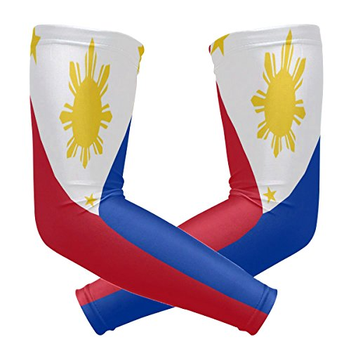 (ZZKKO Philippines Flag Cooling Arm Sleeves Cover Uv Sun Protection for Men Women Running Golf Cycling Arm Warmer Sleeves 1 Pair)