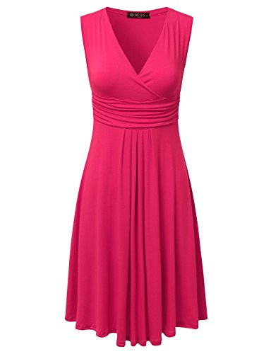 DRESSIS Women's Sleeveless V Neck Pleated Waist Flared Dress CORAL S