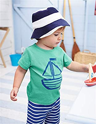 LittleSpring Boys Summer Outfit Cartoon T-Shirt and Stripe Shorts 2PCS Clothing Set for Boys 1-6 Years