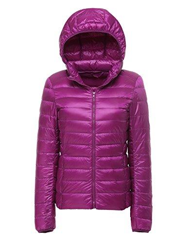 Cherry Cappotto Incappucciato Piumino Purple Corto Donna 2 Impacchettabile Chick rBxZRr