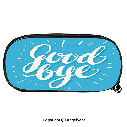 Pattern Pencil Bag Bold Retro Hand Lettering on Blue Background Wishful Words for Kids Boys Girls School Students Pencil Case with Zipper Children Pen Bag Pouch HolderBlue White]()