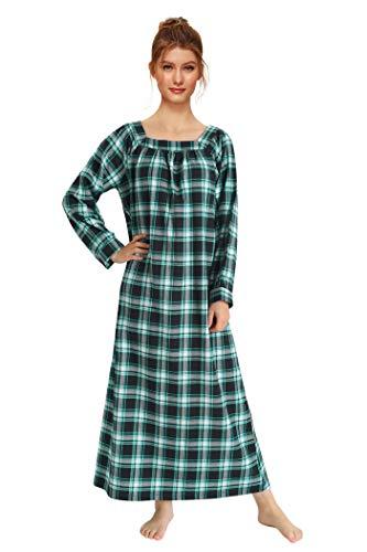 Latuza Women's Long Sleeves Cotton Flannel Nightgown