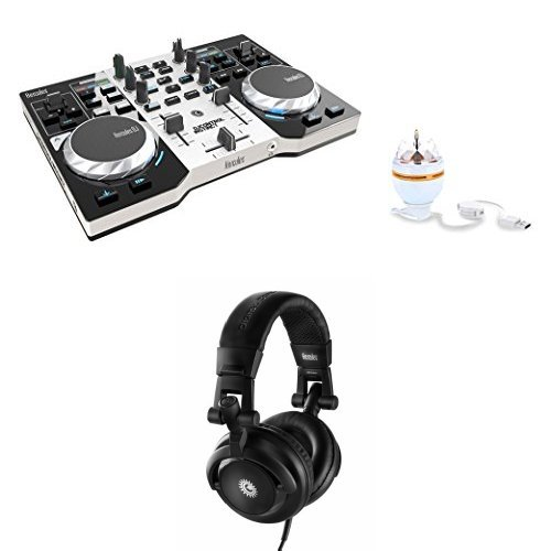 HERCULES INSTINCT S PARTY PACK with HDP DJ-M40.1 DJ Headphones and rotary RGB LED (Hercules Virtual Dj)