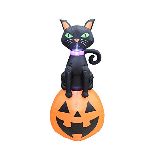 Halloween Cat Inflatables Yards (ProductWorks 5-Foot Spooky Town Scary Black Cat On Jack O' Lantern Yard Art Décor Inflatable Halloween)