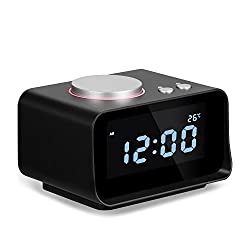 Digital Alarm Clock with FM Radio,with AUX Speaker,Timorn digital thermometer alarm clock, Phone Charger with Dual Port USB,Black