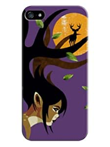 Sangu Deer on Hair Hard Back Shell Case / Cover for Iphone 5 and 5s - Purple