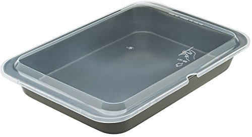 Ecolution Bakeins Cake Pan with Lid - PFOA, BPA, and PTFE Free Non-Stick Coating - Heavy Duty Carbon Steel - Dishwasher Safe - Gray - 13