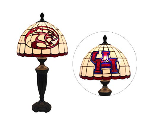 Yogoart 12-inch NCAA Houston Cougars Stained Glass Table Lamp 24.8-inch Total Height