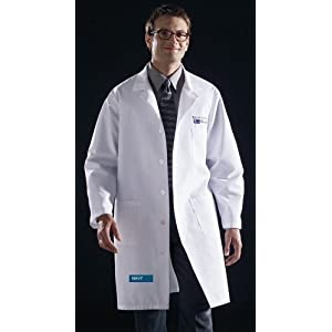 Medline 83044RNNS Unisex Knee Length Lab Coats, Small, Navy