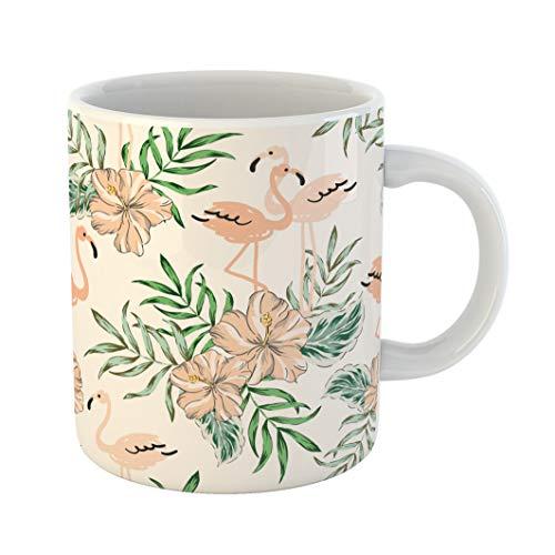 Emvency Funny Coffee Mug Tropical Blush Pink Flamingo Birds Hibiscus Flowers Bouquets Palm Leaves Jungle 11 Oz Ceramic Coffee Mug Tea Cup Best Gift Or Souvenir