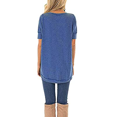 JomeDesign Summer Tops for Women Short Sleeve Side Split Casual Loose Tunic Top at Women's Clothing store