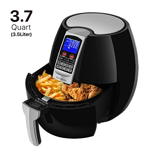 Flexzion Electric Air Fryer Cooker – Healthy Oil Less Dry Fryer Hot Air Steam Fryer with Digital Control Button Screen, Detachable Fry Basket 1500W, 3.7 Quart Black