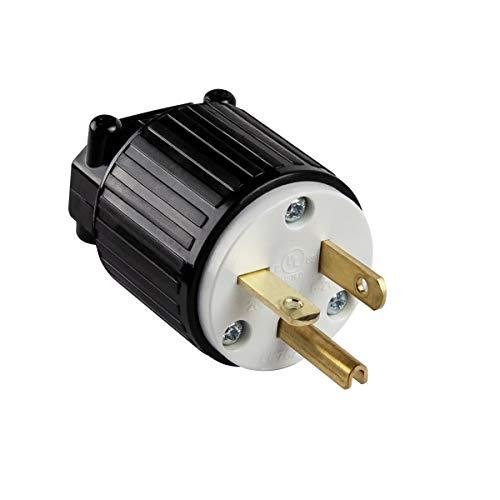 ENERLITES Industrial Grade 20A 250V Straight Blade Plug, NEMA 6-20P, 2P, 3W, 66230-BK, Black