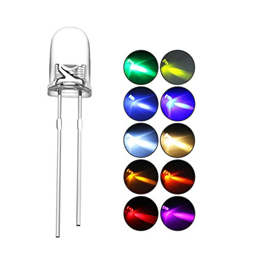 DiCUNO 100pcs(10 Colors x 10pcs) 5mm Bi-pin Light Emitting Diode Round Clear LED Assorted Kit 10 Light Colors White/Red/Yellow/Green/Blue/Pink/Orange/Warm White/UV/Chartreuse