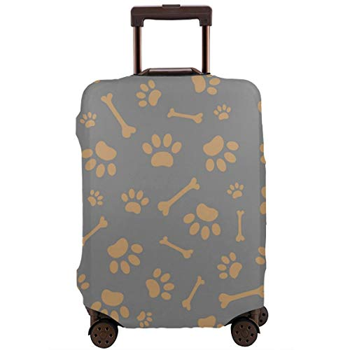 (Travel Luggage Protective Covers Bone And Paw Pattern Elastic Zipper Thickened Resistant Scratch Dust Proof Washable Suitcase Cover)
