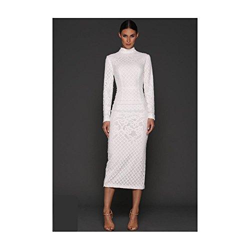 Kleid Länge Bernice Weiß Weißes Langarm Stehkragen Elle 3 4 Zeitoune x0w8Eqxnp