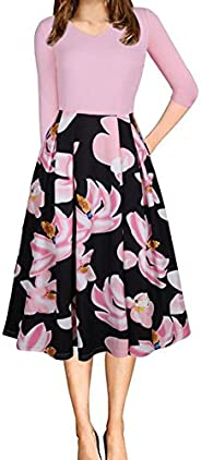 Beninos Women's Floral Vintage Patchwork Pockets Puffy Swing Casual Party D