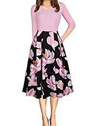 Beninos Women's Floral Vintage Patchwork Pockets Puffy Swing Casual Party Dress